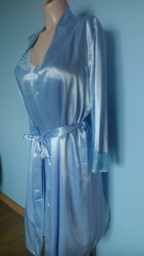 Komplet koszulka nocna i szlafrok satyna M lub L w Koszule  8dxdD