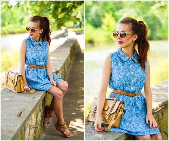 Blogerek niebieska sukienka