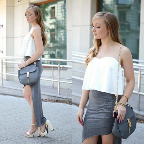 Blogerek Szara spódnica i biały top