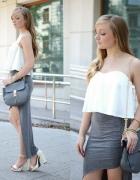 Szara spódnica i biały top...