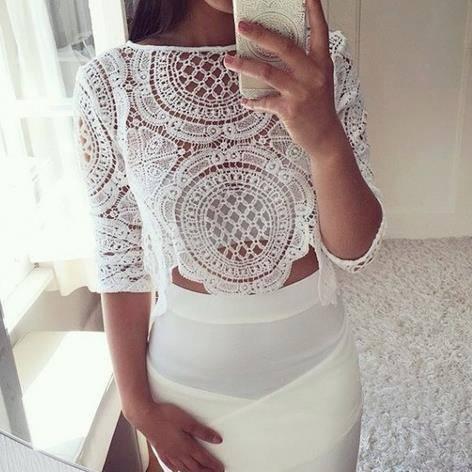 Eleganckie cudna koronkowa bluzeczka