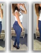 legginsy jeans slim wysoki stan...