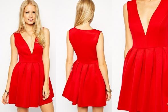 Sukienka ASOS v neck czerwona rozkloszowana
