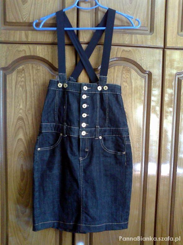Spódnice Bershka spódnica ołówkowa jeansowa z wyższym stane