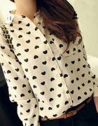 NOWA kremowa satynowa koszula w serduszka M