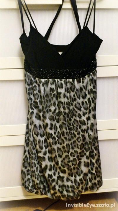 Czarno srebrna panterkowa sukienka cudo