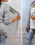 Sweter narzutka nowość jesien jasno szary