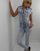 jeansowy kombinezon XS S...
