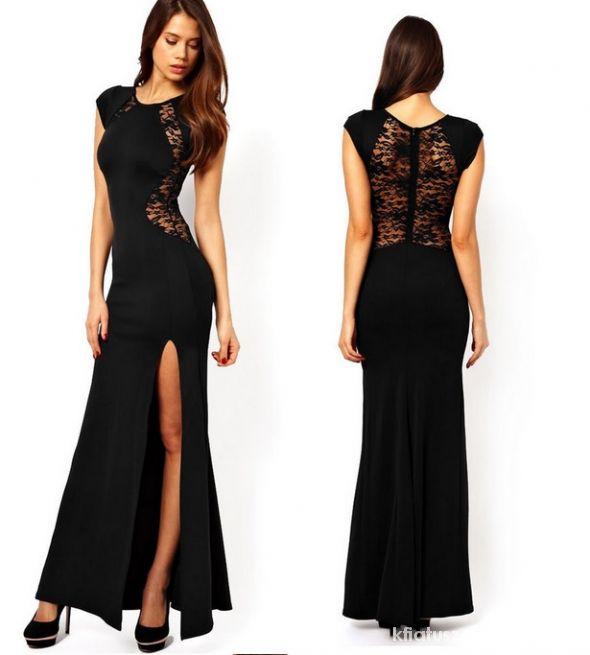 długa czarna koronkowa sukienka