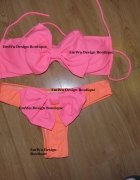 Bikini strój kąpielowy neon kokarda stringi...