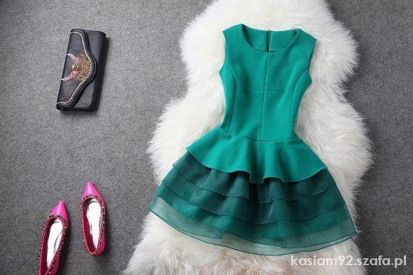 Sukienka Vintage Zielona Czarna Różowa Wesele ślub W Suknie I