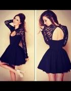 Sukienka czarna rozkloszowana koronkowa 36 S