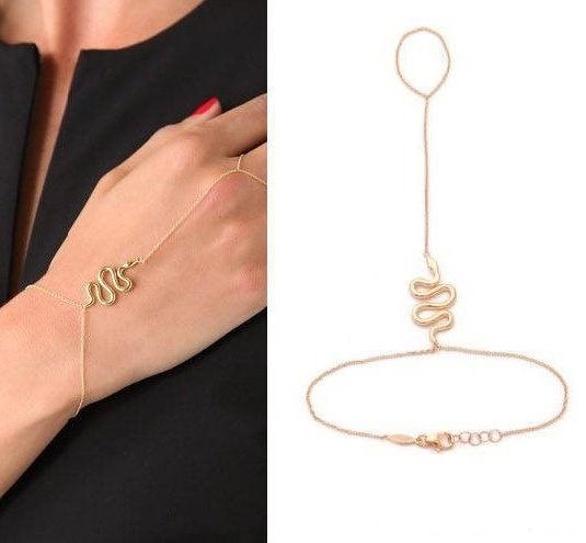 Bransoletka pierścionek łączona wąż łańcuszek
