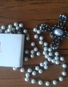 Naszyjnik różaniec krzyż vintage pearls perłowy...