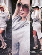 Sweter z trenem dluzszy tyl kolor jasny beż...