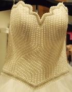 Suknia ślubna model AMANDA perełki gorset perły M