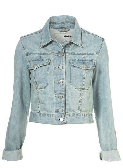 Ubrania Katanka jasna jeansowa do bioder S tylko taliowana