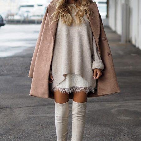 Codzienne Beżowy płaszcz over size i kozaki za kolano