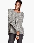 Szarny pleciony wełniany sweter h&m oversize L 40