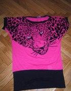 Różowa Bluzka Tunika z cekiny tygrys