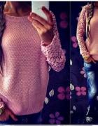 cudny sweterek koronkowe rękawy