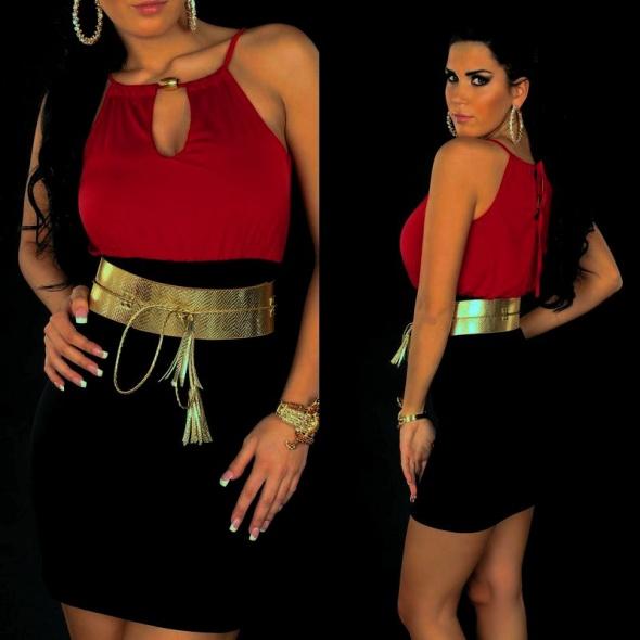 Suknie i sukienki SUKIENKA MINI SEXY CZARNO CZERWONA XL 42