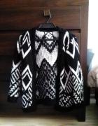 Sweter aztec aztecki czarno biały