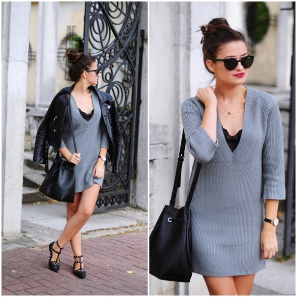 Blogerek Szara sukienka sweter