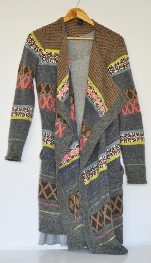Maxi sweter narzutka VILA aztecki wzór wełna