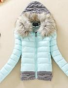 HIT ZIMY zimowa kurtka pikowana wełniany ściągacz