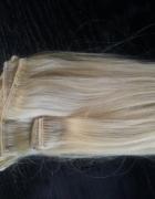 Włosy naturalne clip in jasny blond