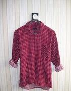 czerwona koszula w kratę typu boyfriend