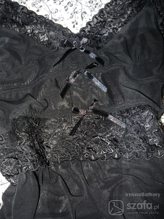 Koszule nocne siateczkowa koszulka nocna czarna