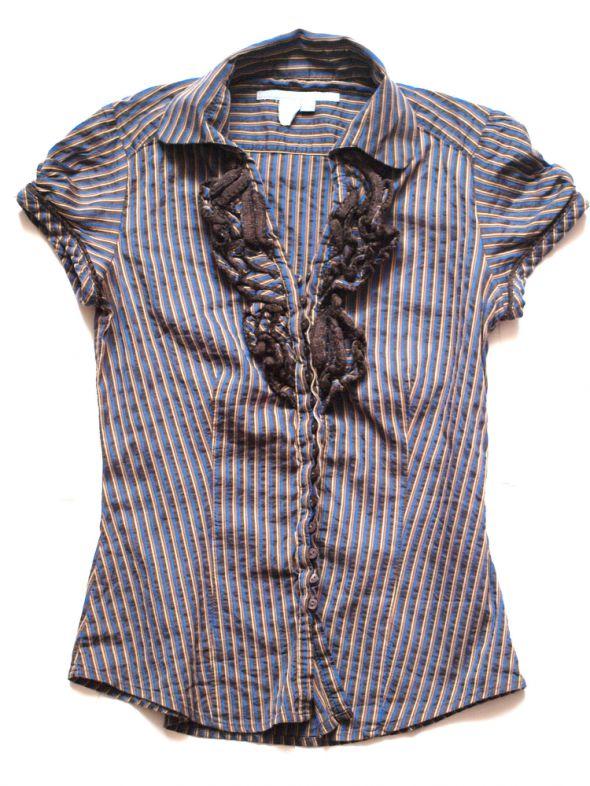 Koszule Koszula w paski z żabotem Zara rozmiar S