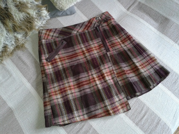 Spódnice Next wełniana Ciepła Zima plisowana krata r 38 40