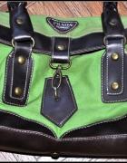 Piękna torebka Prada zielone płótno i brąz skórka...