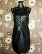 C&A sukienka ekoskóra 36 S czarna złote ćwieki