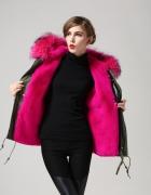 kurtka z różowym futrzakiem