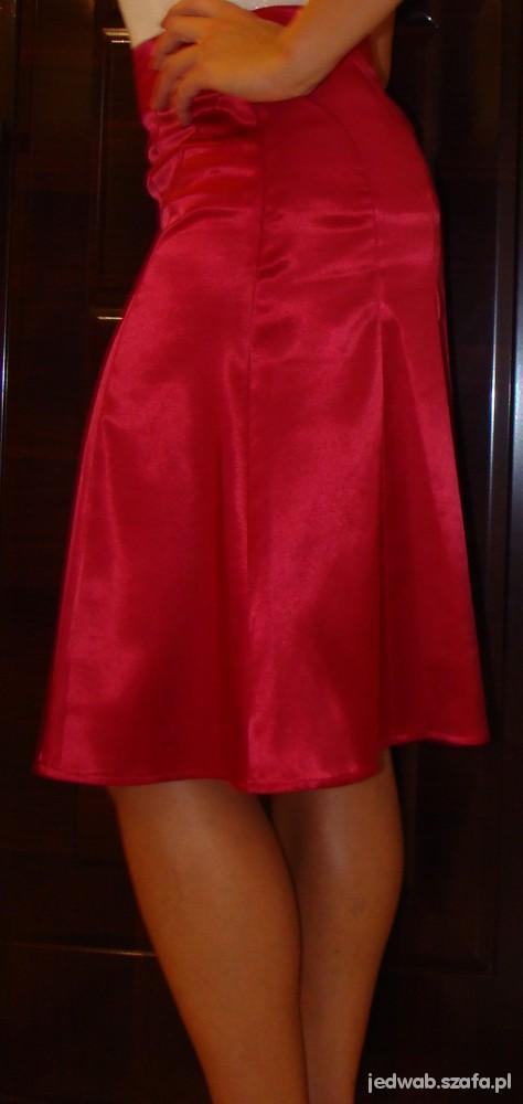 Spódnice Cudna malinowa satynowa spódnica Orsay 36 S