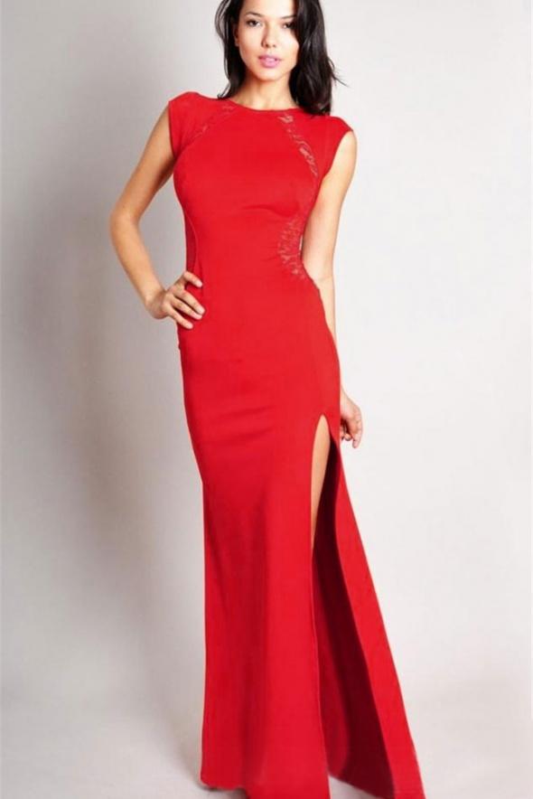 da0480b93f Suknie i sukienki Długa suknia z rozporkiem i koronką SYLWEK 2 ROZMI