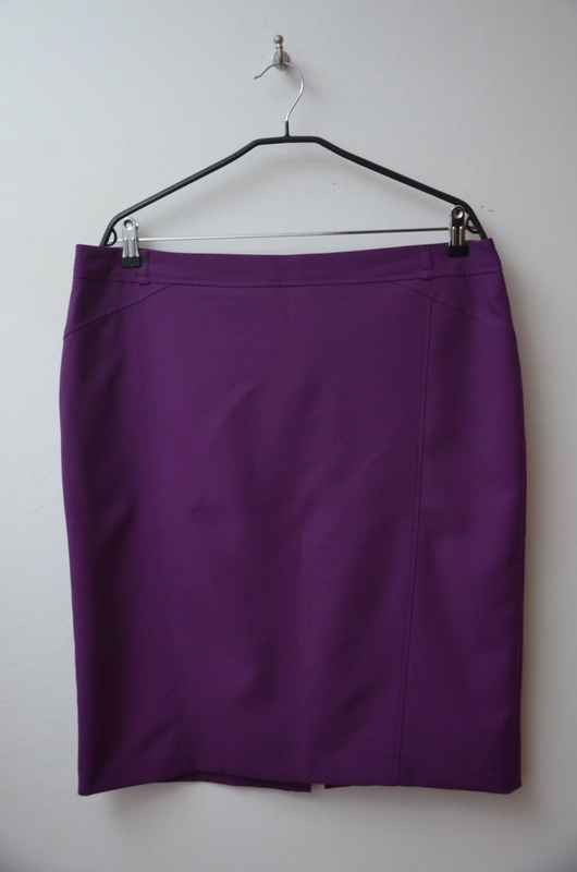 Spódnice F&F fioletowa elegancka spódnica prosta 46