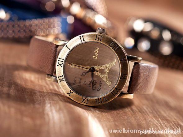 Zegarek z wieżą Eiffla brązowy hit NOWY