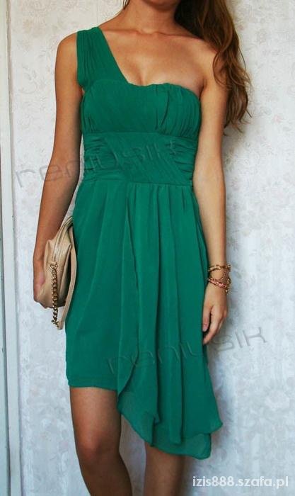be8ad61c5d Sukienka hm zielona asymetryczna 34 XS w Suknie i sukienki - Szafa.pl