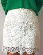 Spódniczka Zara koronka giupra biała