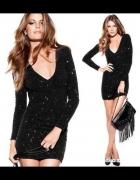 Sukienka H&M by night czarna brokat błyszcząca
