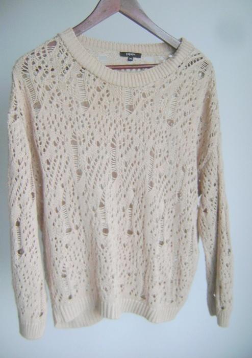 sweterek pudrowy beż róż oversize