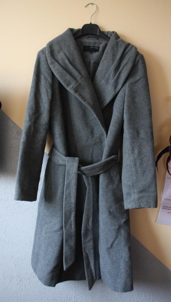 6842cb00 szary wełniany płaszcz wiązany zara carry w Odzież wierzchnia - Szafa.pl