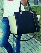 Torebka kuferek H&M czarno biała beżowa sztywna