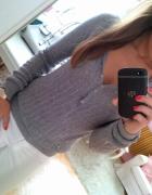 Szary sweter sweterek z kapturem Zara L