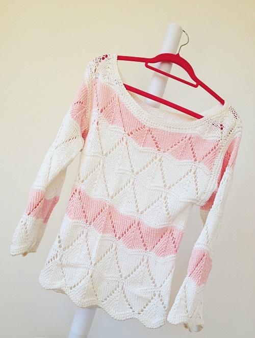 AŻUROWY brzoskwiniowy sweter pastel ecru MORELA